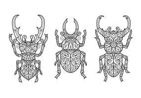 besouro em fundo branco. esboço desenhado à mão para livro de colorir adulto vetor