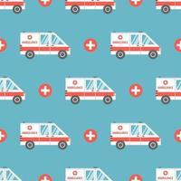 ambulância médica em estilo cartoon plana. padrão sem emenda de vetor