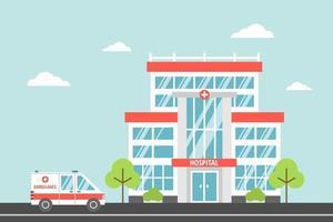 hospital, um centro médico moderno da cidade. ambulância. conceito de saúde e emergência. ilustração vetorial em estilo cartoon plana vetor
