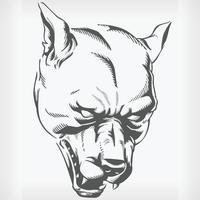 silhueta zangado cabeça de cachorro pitbull stencil hound desenho vetorial canino vetor