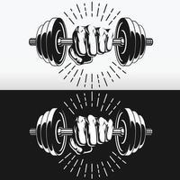 silhueta punho segurando halteres de musculação desenho vetorial de estêncil vetor