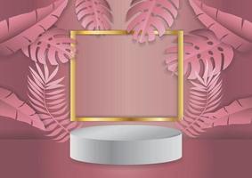 display de pódio com fundo de folha tropical vetor