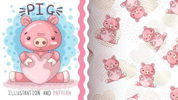 porco animal bonito personagem de desenho animado - padrão sem emenda vetor