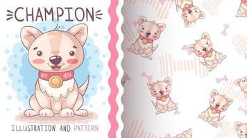 cão de personagem de desenho animado com coração - padrão sem emenda vetor