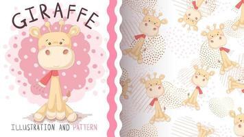 adorável personagem de desenho animado animal girafa vetor