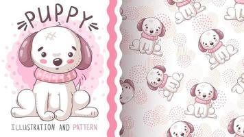 cão adorável personagem de desenho animado - padrão uniforme vetor