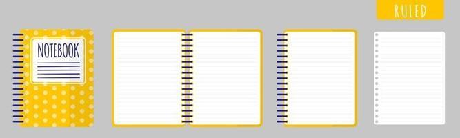 ilustração de desenho vetorial com caderno pautado, caderno aberto e folhas em branco sobre fundo branco. vetor