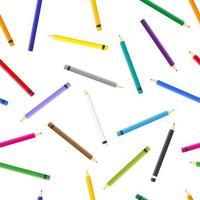 padrão sem emenda de desenho vetorial com lápis de cor sobre fundo branco para web, impressão, textura de pano ou papel de parede. vetor