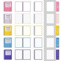 conjunto de ilustrações de desenho vetorial com diferentes tipos de cadernos, cadernos abertos, folhas em branco sobre fundo branco vetor