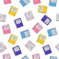 padrão sem emenda de desenho vetorial com cadernos coloridos em fundo branco para web, impressão, textura de pano ou papel de parede. vetor