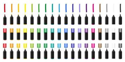 conjunto de ilustrações de desenho vetorial com marcadores coloridos em fundo branco. vetor