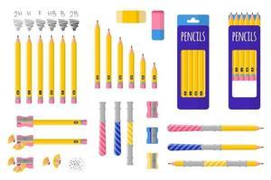 conjunto de ilustrações de desenho vetorial com lápis simples, apontador e borracha em fundo branco. vetor