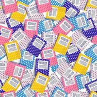 padrão sem emenda de desenho vetorial com cadernos coloridos para web, impressão, textura de pano ou papel de parede. vetor