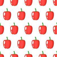Padrão sem emenda de vetor com pimentão vermelho maduro inteiro isolado no fundo branco