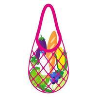 ilustração de desenho vetorial de sacola de compras rosa ou sacola de malha de tartaruga com alimentos saudáveis, isolada no fundo branco vetor
