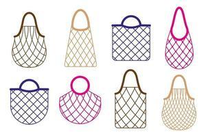 conjunto de desenhos animados de vetor de saco de barbante de supermercado vazio ou saco de malha de tartaruga para alimentos orgânicos saudáveis, isolado no fundo branco