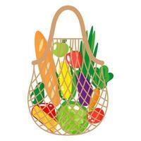 ilustração de desenho vetorial de corda de supermercado bege ou bolsa de malha de tartaruga com alimentos saudáveis, isolada no fundo branco vetor