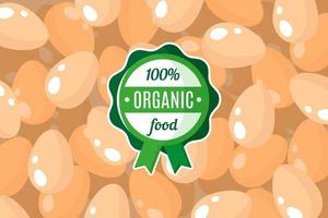 cartaz de vetor ou banner com ilustração de fundo de ovos de galinha e rótulo verde redondo de alimentos orgânicos