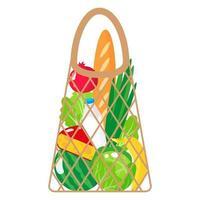ilustração de desenho vetorial de corda de supermercado bege ou bolsa de malha de tartaruga com alimentos orgânicos isolados no fundo branco vetor