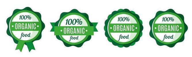 conjunto de vetores de emblemas, etiquetas ou rótulos de alimentos orgânicos e frescos verdes redondos. design de etiquetas de mercado ecológico. compras de alimentos ecológicos.