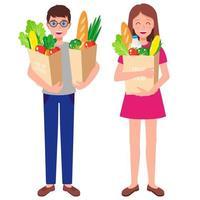 ilustração de desenho vetorial com a família segurando sacolas de papel com alimentos saudáveis frescos isolados no fundo branco vetor