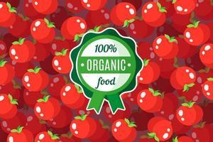 cartaz ou banner de vetor com ilustração de fundo vermelho tomate e rótulo verde redondo de alimento orgânico