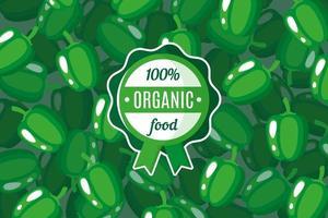cartaz ou banner de vetor com ilustração de fundo de pimentão verde e rótulo de alimento orgânico verde redondo