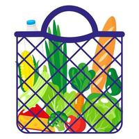 ilustração de desenho vetorial de sacola de compras azul ou sacola de malha de tartaruga com alimentos orgânicos isolados no fundo branco vetor