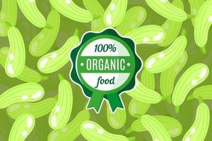 cartaz de vetor ou banner com ilustração de fundo de abóbora verde e rótulo de alimento orgânico verde redondo