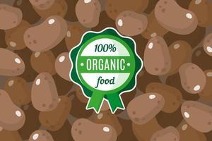 cartaz ou banner de vetor com ilustração de fundo de batata marrom e rótulo verde redondo de alimento orgânico