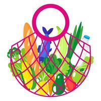 ilustração de desenho vetorial de sacola de barbante rosa ou sacola de malha de tartaruga com alimentos orgânicos, isolada vetor