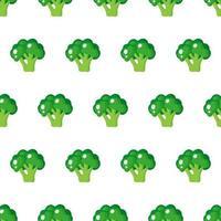 Padrão sem emenda de vetor com brócolis verde maduro inteiro isolado no fundo branco
