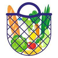 ilustração de desenho vetorial de sacola de compras azul ou sacola de malha de tartaruga com alimentos saudáveis, isolada no fundo branco vetor