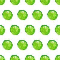 Padrão sem emenda de vetor com repolho verde redondo inteiro isolado no fundo branco