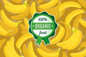 cartaz ou banner de vetor com ilustração de fundo amarelo de banana tropical e rótulo verde redondo de alimento orgânico