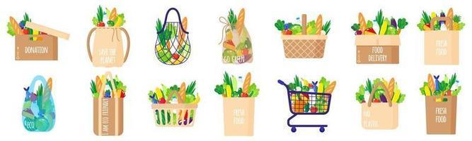 conjunto de desenhos animados de vetor de sacolas de papel, cestas, carrinho, caixa, sacola de tartaruga com alimentos saudáveis, isolado no fundo branco