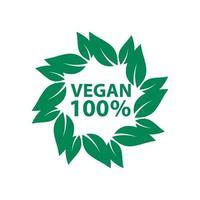 ícone vegan bioecologia orgânica, logotipos rótulo etiqueta folha verde vetor