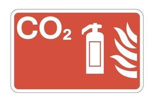 sinal de símbolo de segurança contra incêndio co2 em fundo branco, ilustração vetorial vetor