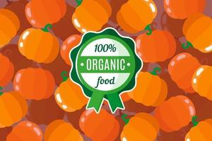 cartaz ou banner de vetor com ilustração de fundo laranja de abóbora e rótulo verde redondo de alimento orgânico