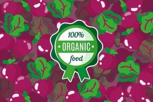 cartaz ou banner de vetor com ilustração de fundo de beterraba vermelha e rótulo de alimento orgânico verde redondo