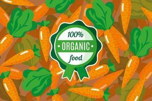 cartaz ou banner de vetor com ilustração de fundo laranja de cenoura e rótulo verde redondo de alimento orgânico
