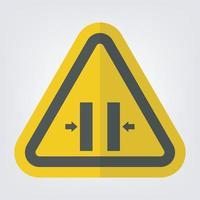 sinal de símbolo de fechamento de molde de perigo de esmagamento isolado em fundo branco vetor