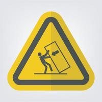 corpo esmagado ponta sobre sinal de símbolo de perigo isolado em fundo branco vetor