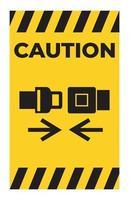cuidado, use o sinal do símbolo do cinto de segurança isolado no fundo branco vetor