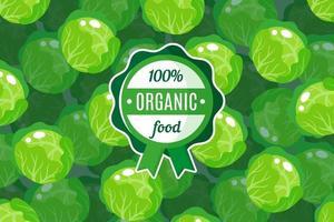 cartaz ou banner de vetor com ilustração de fundo de repolho redondo verde e rótulo de alimento orgânico verde redondo