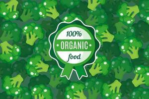 cartaz de vetor ou banner com ilustração de fundo verde de brócolis e rótulo verde redondo de alimentos orgânicos