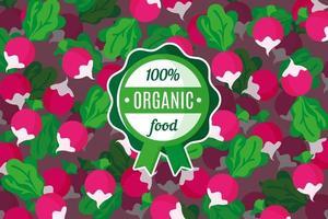 cartaz ou banner de vetor com ilustração de fundo de rabanete rosa e rótulo verde redondo de alimento orgânico