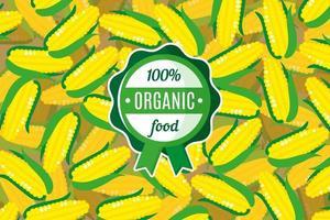 cartaz ou banner de vetor com ilustração de fundo de milho amarelo e rótulo de alimento orgânico verde redondo