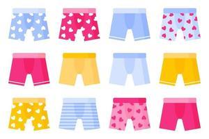 conjunto de diferentes tipos e cores de cuecas boxer masculinas. vetor