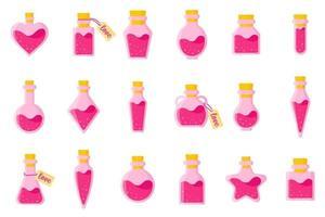 conjunto de poção do amor em garrafas de diferentes formas com etiqueta e coração para o casamento ou dia dos namorados. vetor